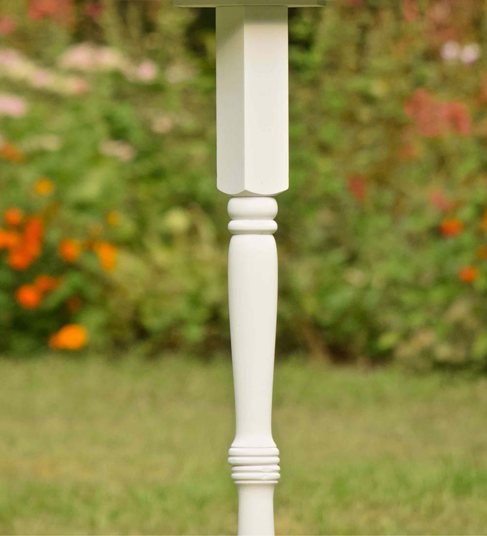 Turned Wood Pedestal Pole For Birdhouse/Feeder with Ground Auger - White
