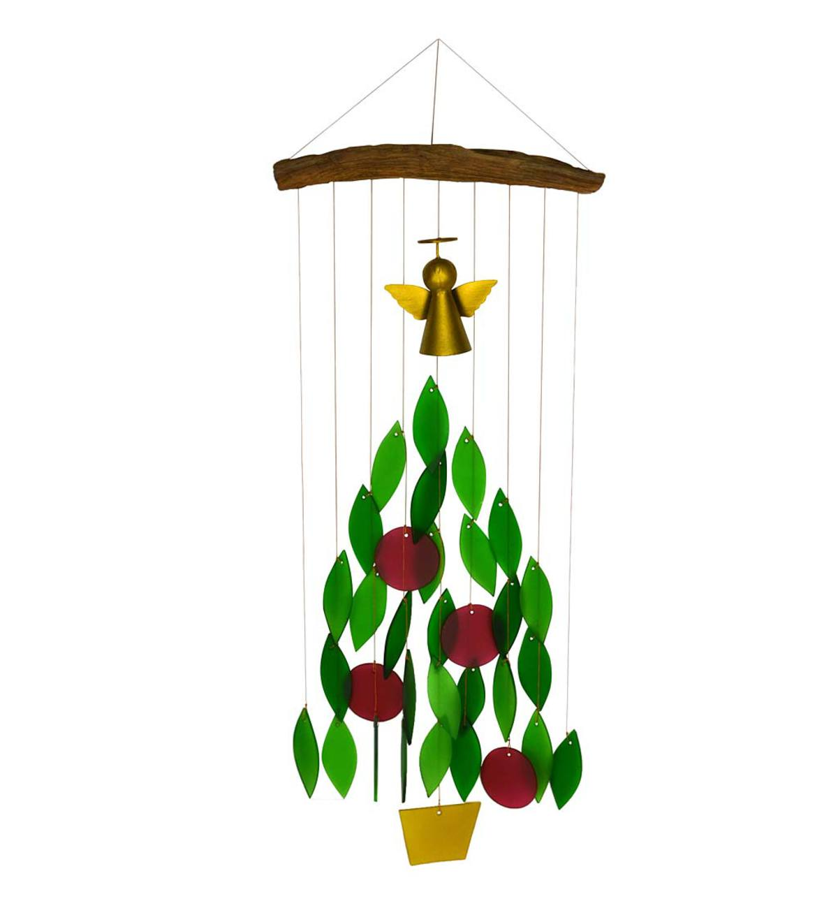 Colorful Glass and Wood Christmas Tree Wind Chime