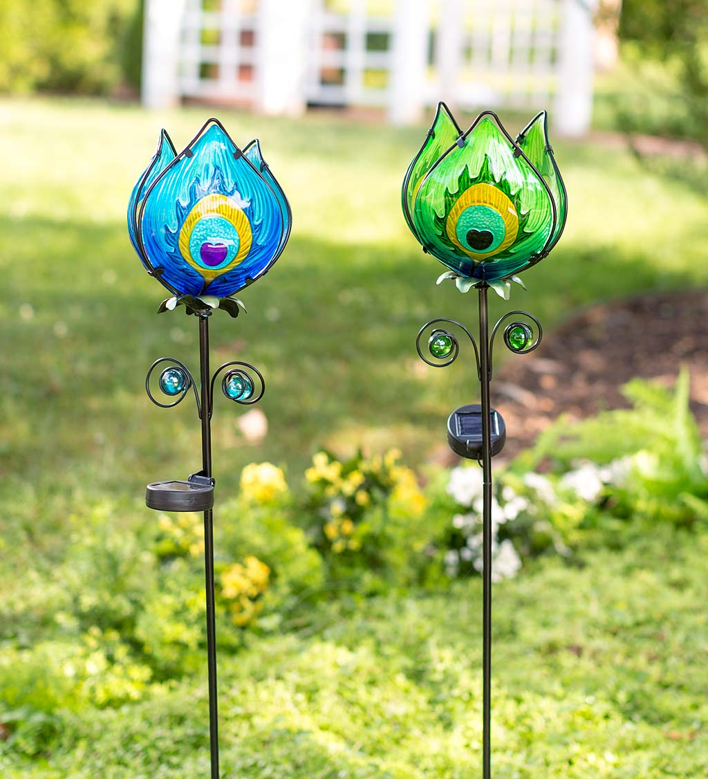 Solar Lighted Metal and Glass Flower Garden Stake