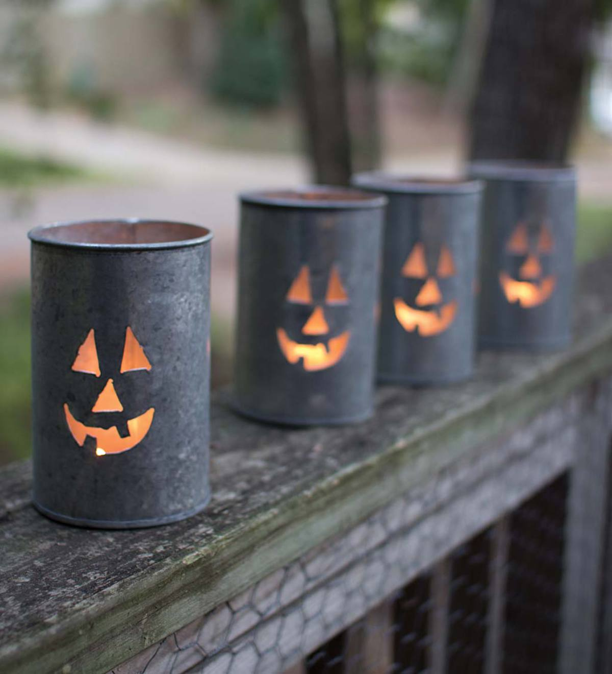 Tin Jack-o'-Lantern Luminarias, Set of 4
