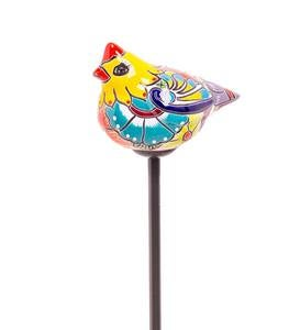 Handcrafted Talavera-Style Ceramic Bird Decorative Garden Stake - Yellow