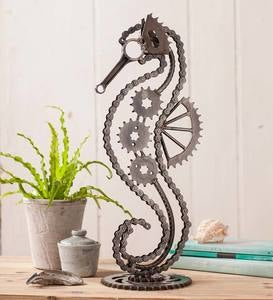 Bicycle Chain and Gears Seahorse Sculpture