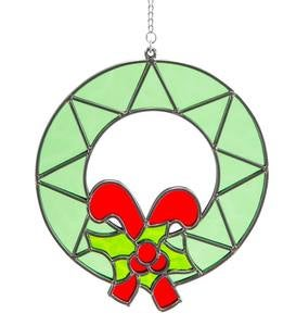 Stained Glass Candy Cane Holiday Wreath