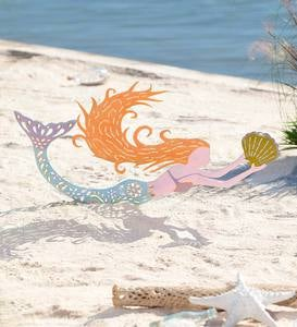 Colorful Metal Mermaid Garden Stake