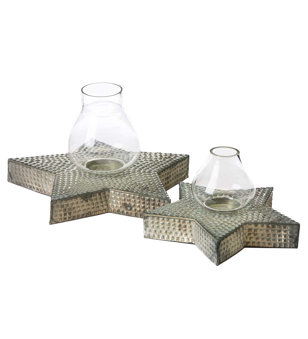 Metal Star Votive Candle Holders, Set of 2