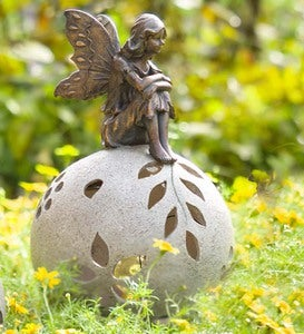 Resin Fairy on Glowing Globe Garden Statue