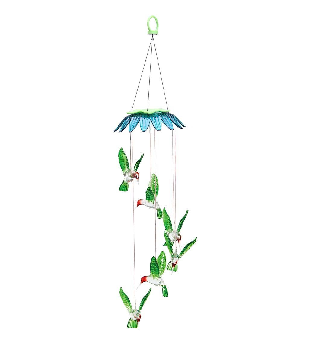 Hummingbird Color Changing Flower Top Solar Mobile