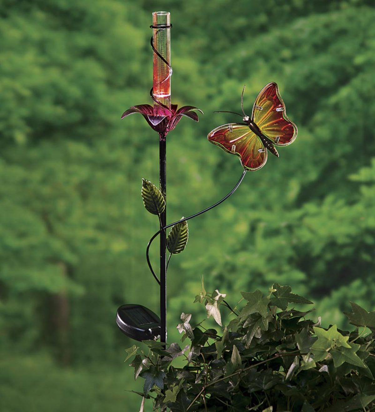 Butterfly And Flower Solar Rain Gauge