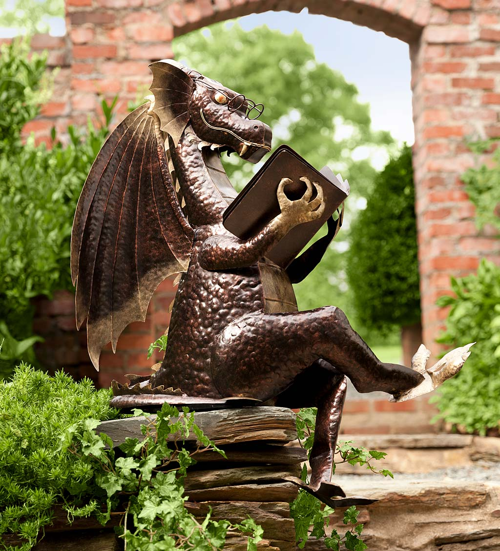 Metal Reading Dragon Sculpture