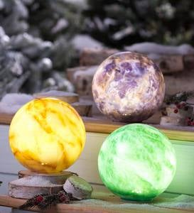 Glowing Glass Elements Globes, Set of 3