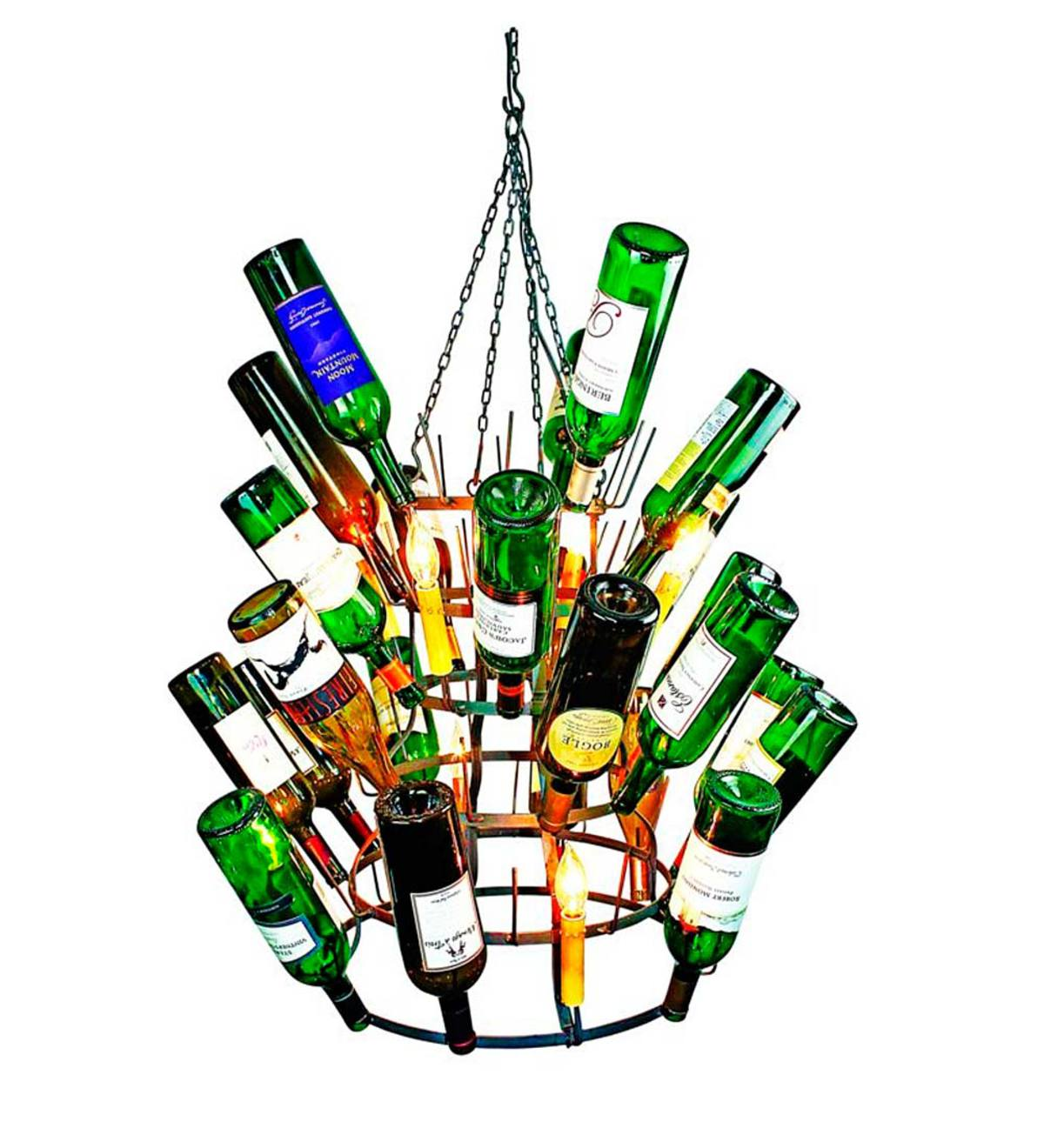 French Bottle Drying Rack Chandelier