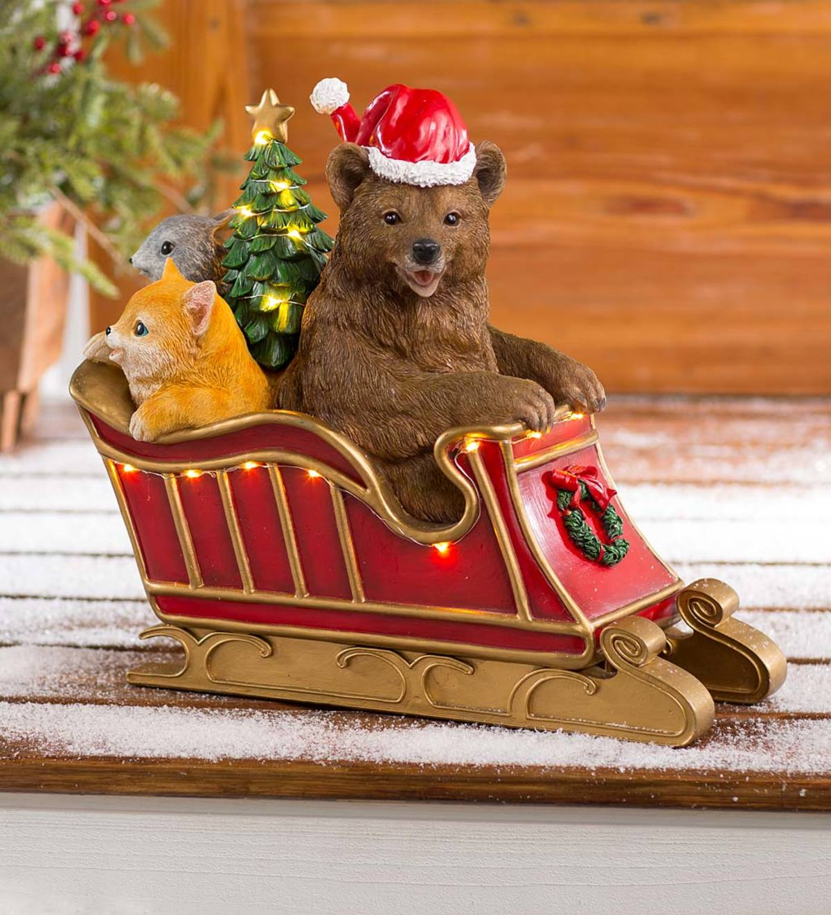 Solar Lighted Bear and Friends in Sleigh Holiday Sculpture