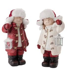 Children with Solar Lanterns Figurines, Set of 2
