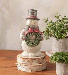 Snowman Figurine with Lighted Wreath