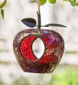 Glass Mosaic Fruit-Shaped Bird Feeder - Apple