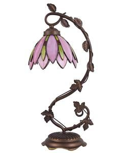 Pink Stained Glass Lotus Table Lamp