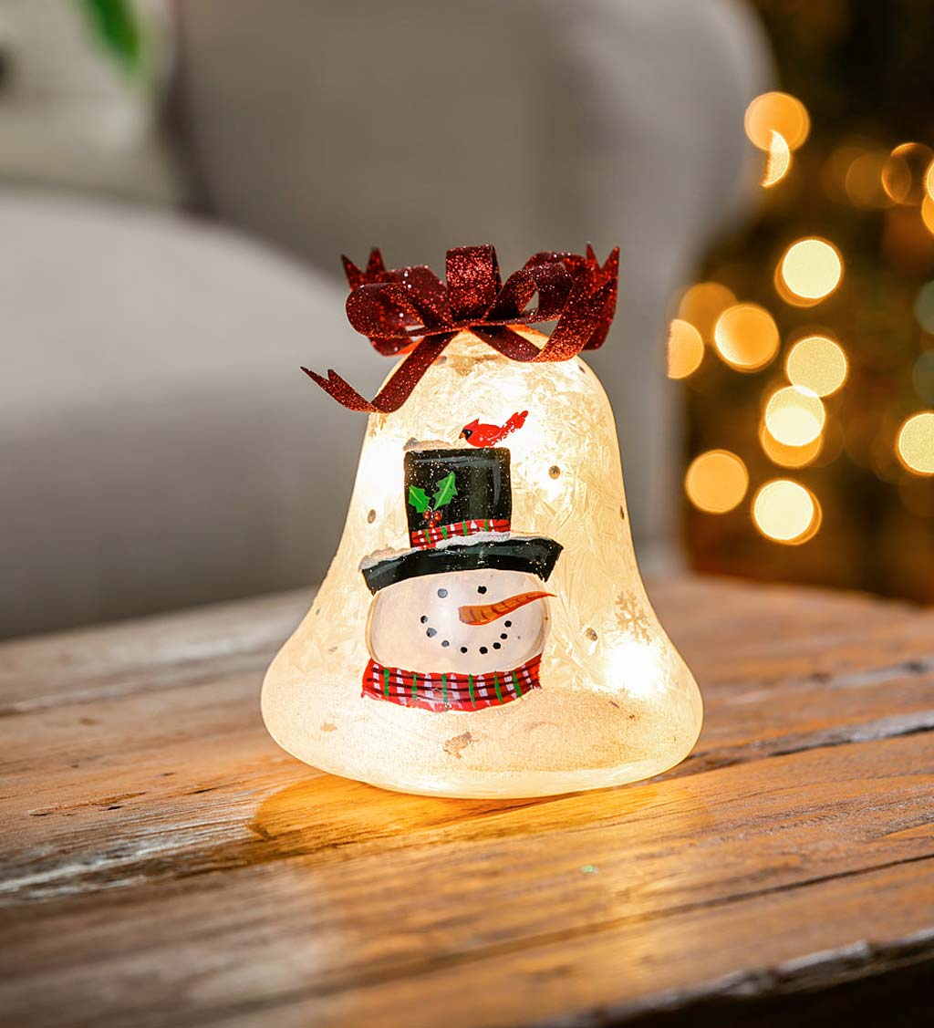 Glass Handpainted Snowman and Cardinal LED Bell