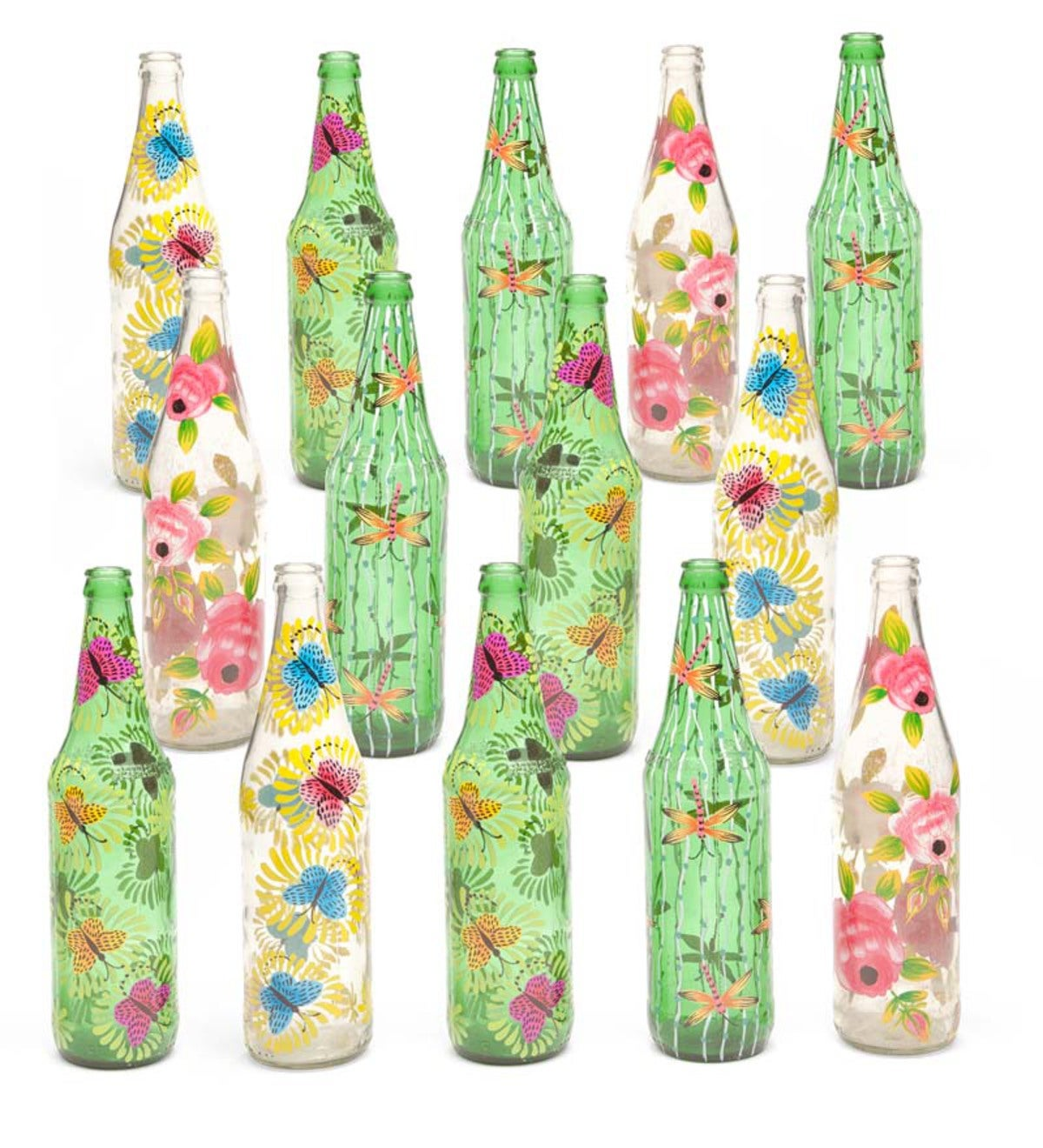 Hand Painted Glass Bottles, Set of 14