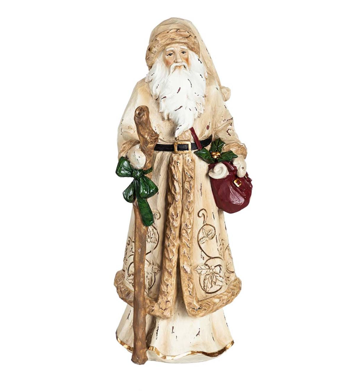 Indoor/Outdoor Golden Old World Santa Christmas Statue