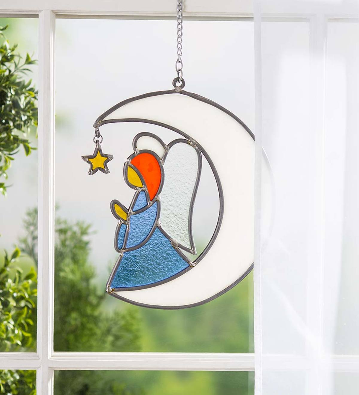 Handcrafted Stained Glass Angel on Moon