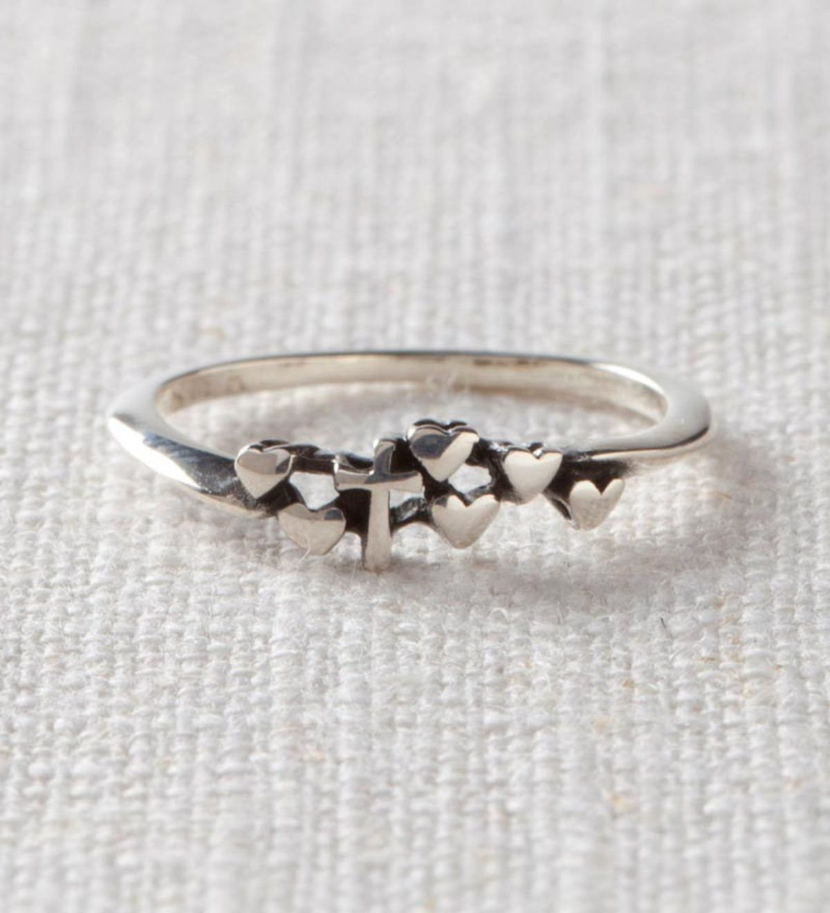 Sterling Silver Tiny Hearts and Cross Ladies' Ring - Sterling Silver - Size 3