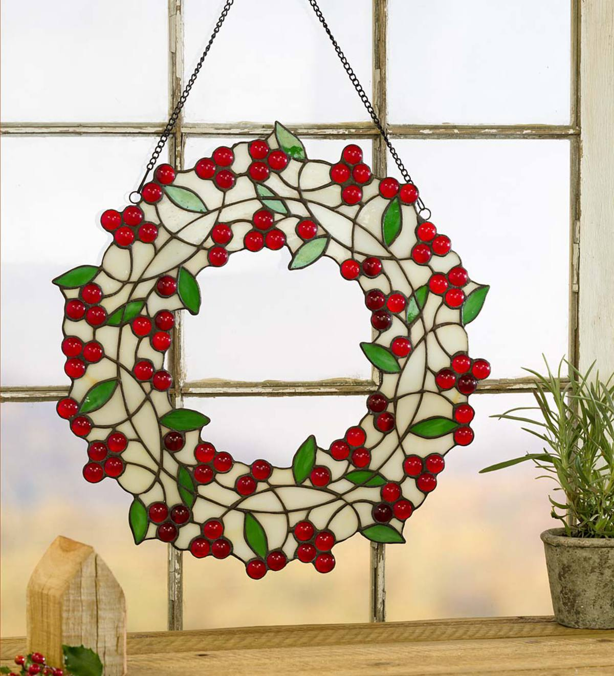 handpainted art clingstained glass decal Holly and Pine Christmas blue bird wreath