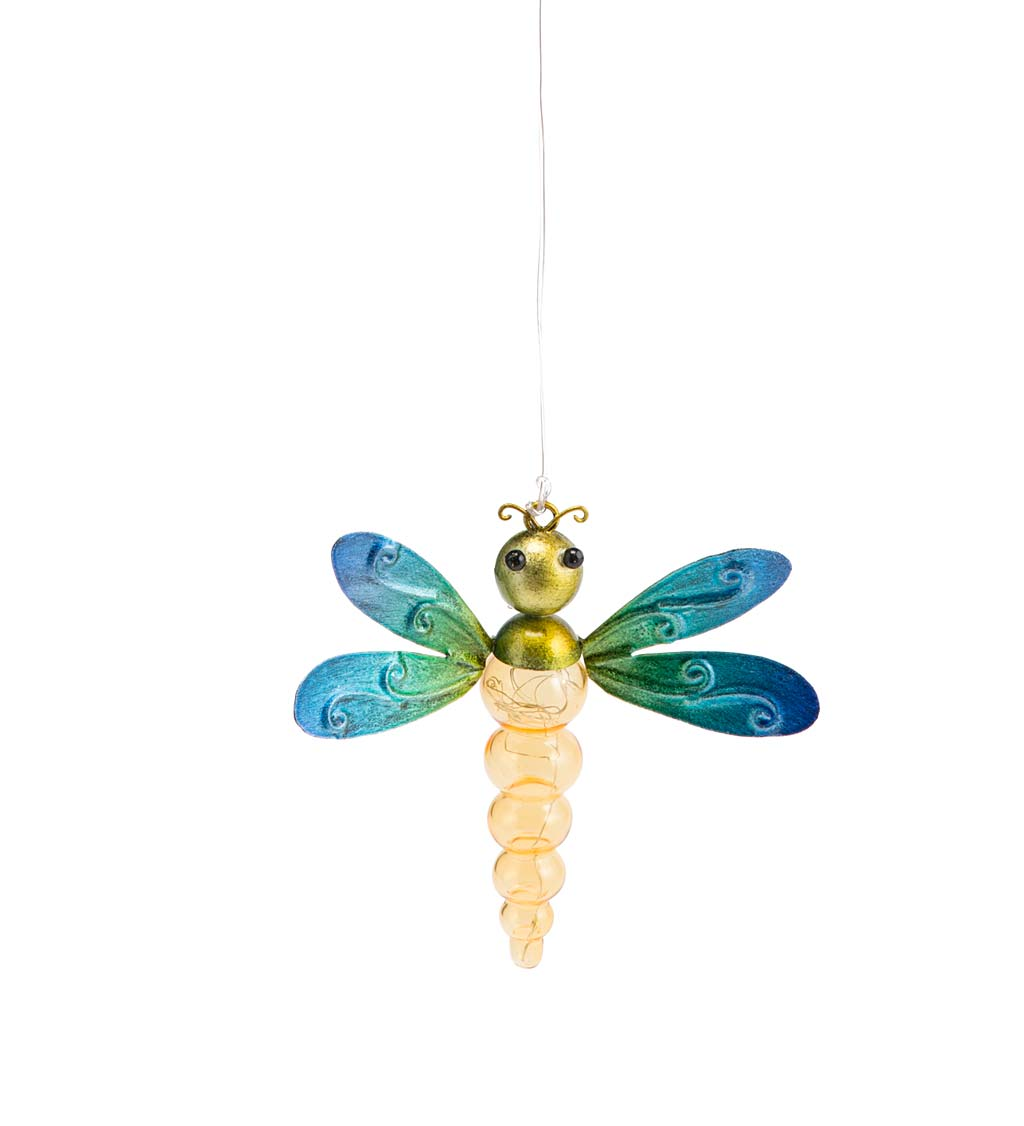 Metal and Glass Solar Insect Light - Dragonfly