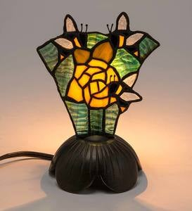 Tiffany-Style Stained Glass Bees and Flower Accent Light