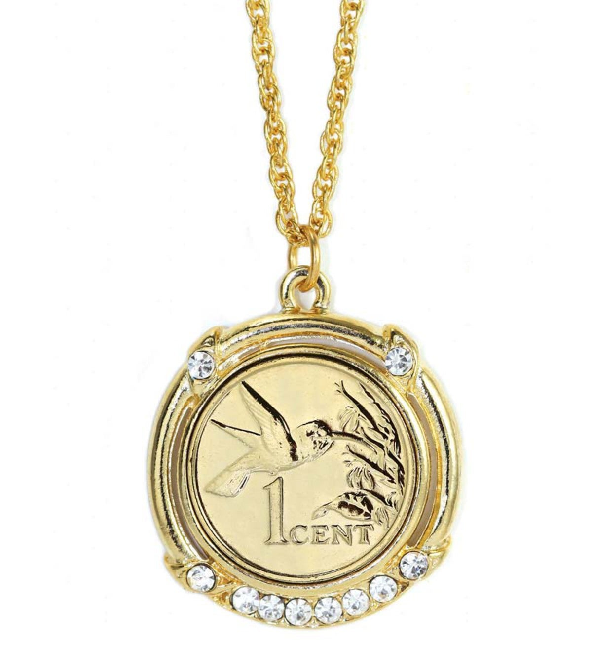 Gold-Layered Hummingbird Coin Necklace
