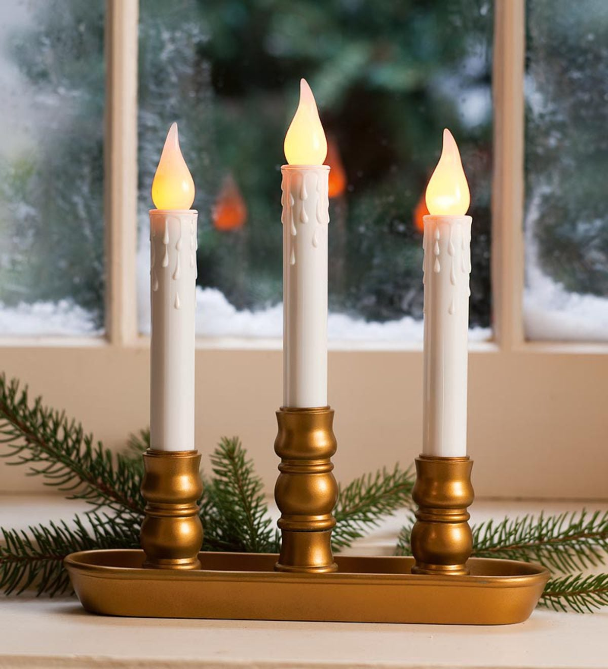 Triple Cordless Candles - Pewter