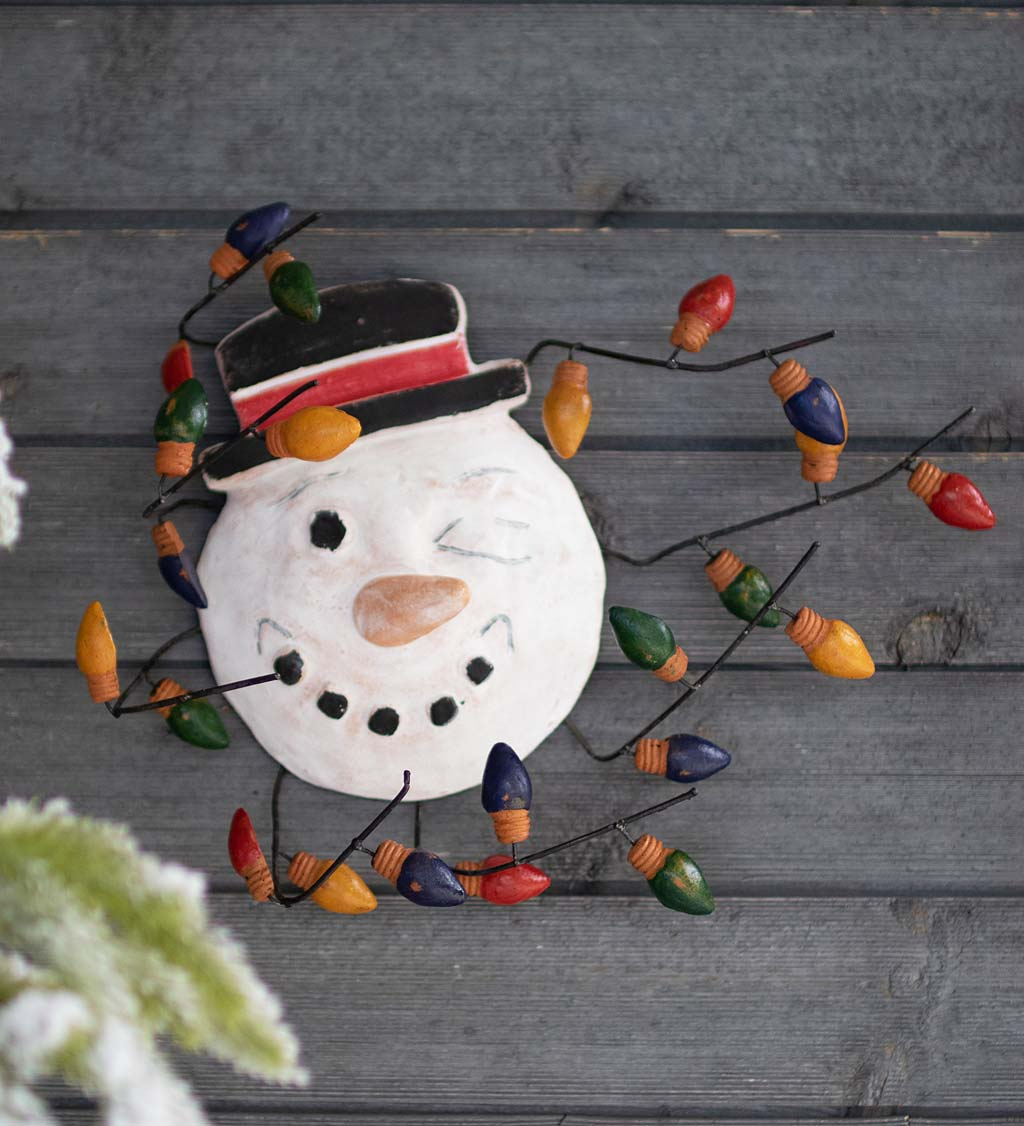 Handcrafted Clay Windblown Snowman Face with Christmas Bulbs