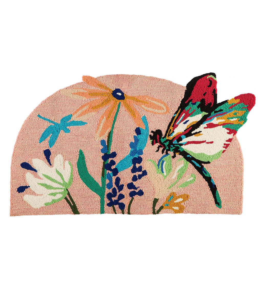 Indoor/Outdoor Dragonfly Garden Hooked Accent Rug