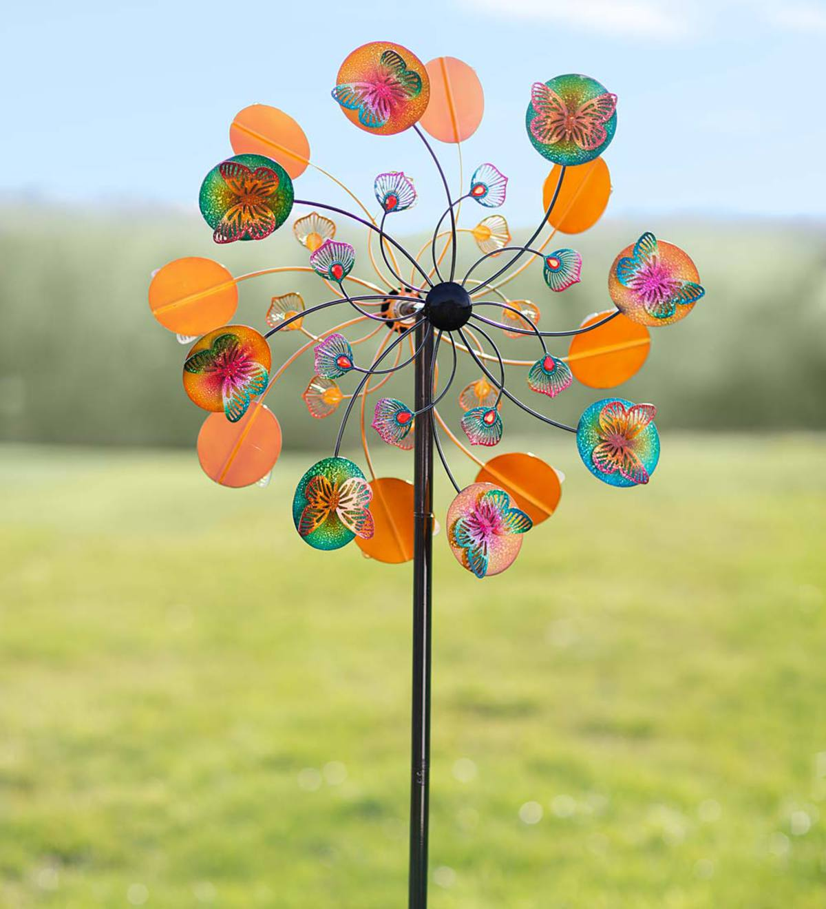 Vibrant Colors Metal Butterfly Wind Spinner | Wind Spinners | Garden ...