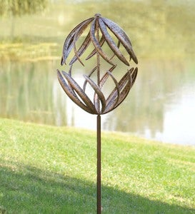 Dual-Horizontal-Motion Metal Wind Spinner with Antiqued Bronze Finish