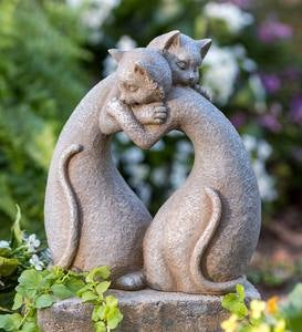 Hugging Heart Cats Stone-Finish Indoor/Outdoor Sculpture
