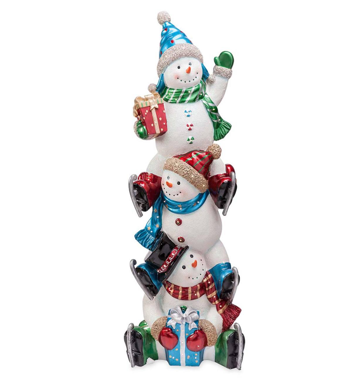 Oversized Trio Of Lighted Snowmen Indoor Holiday