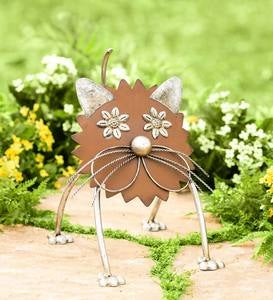 Handcrafted Recycled Metal Cat Sculpture