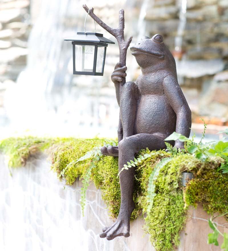 Antique Bronze Colored Sitting Frog, Metal Frog Garden Decor