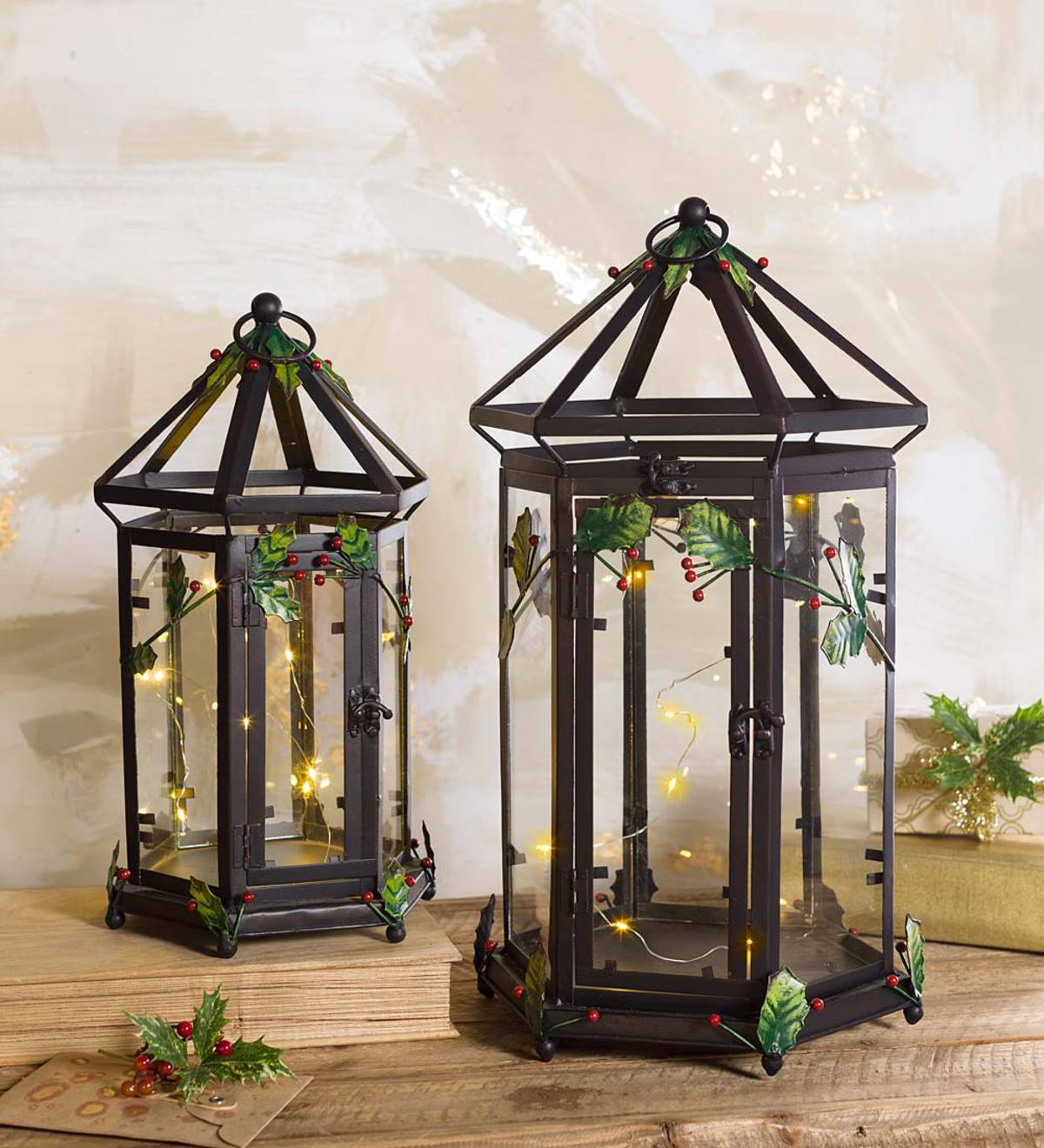 Metal and Glass Holly Lanterns, Set of 2