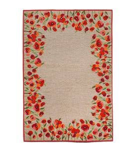 Red Poppies Border Accent Rug