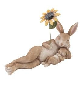 Mama and Baby Bunny Lounging with a Sunflower Sculpture