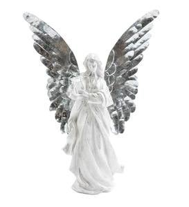 Angel with Metal Wings Statue