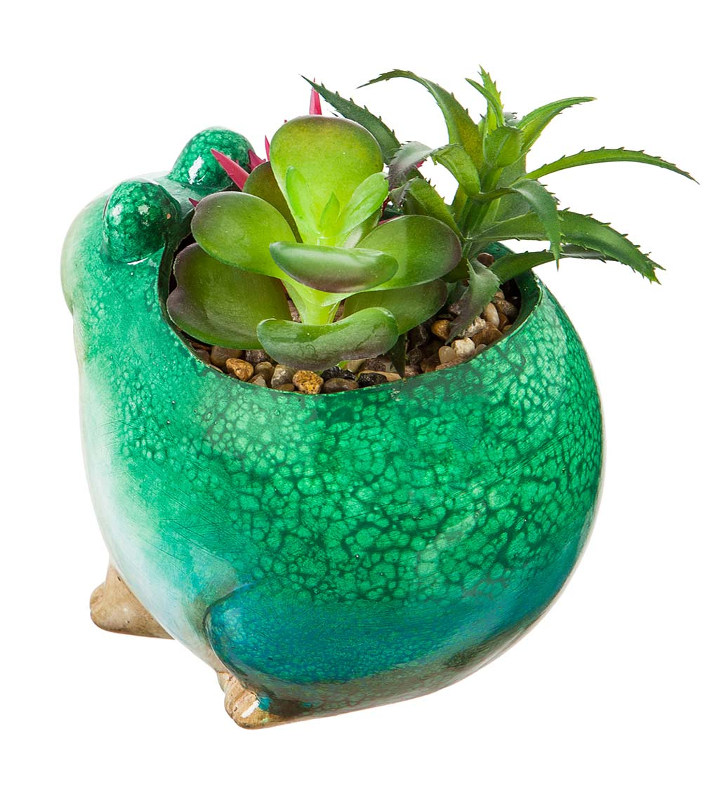 Ceramic Frog Planter with Faux Succulents