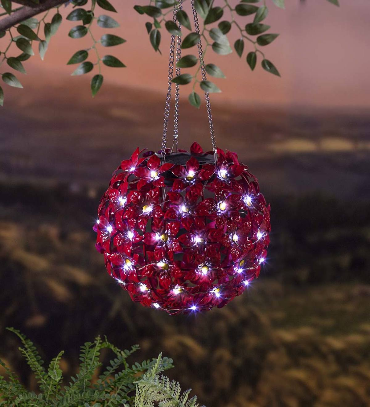 Solar Lighted Red Flowers Hanging Metal Orb
