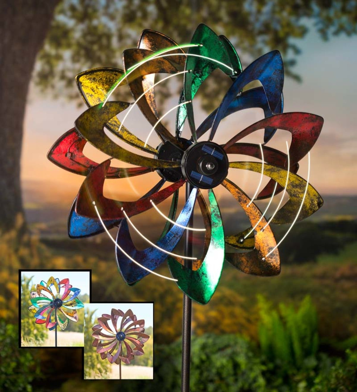 Solar Lighted LED Flower Metal Wind Spinner with Bi-Direction Rotors