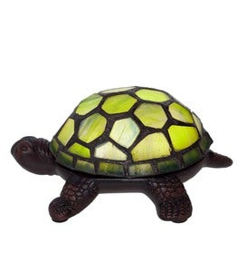 Stained Glass Turtle Accent Lamp - Green