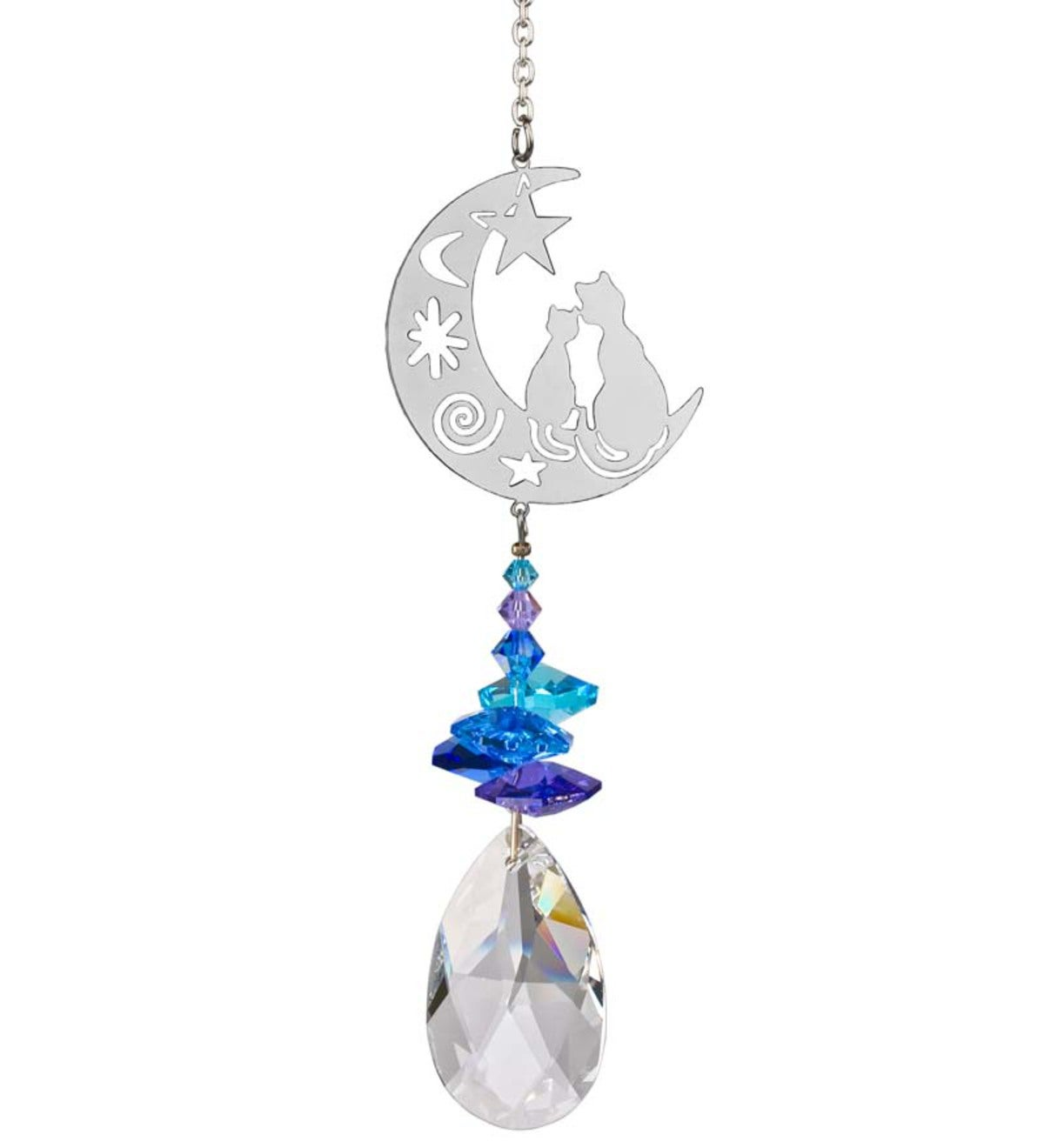 Cats Sitting On Moon Crystal Suncatcher