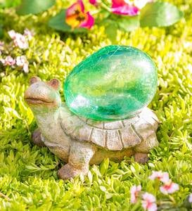 Turtle Sculpture with Solar Lighted Crackle-Glass Orb