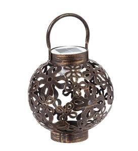 Solar Lighted Motion Metal Patterned Lantern