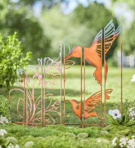 Metal Hummingbird Garden Panel Stakes